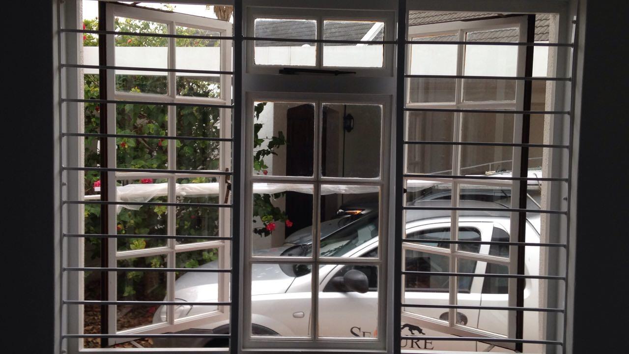 10 x 10 white framed welded burglar bars